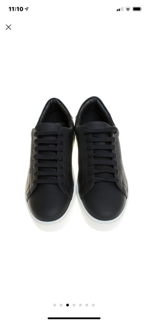 Item - Black Perforated Check Leather Westford Low Top Sneakers Size US 10 Regular (M, B)