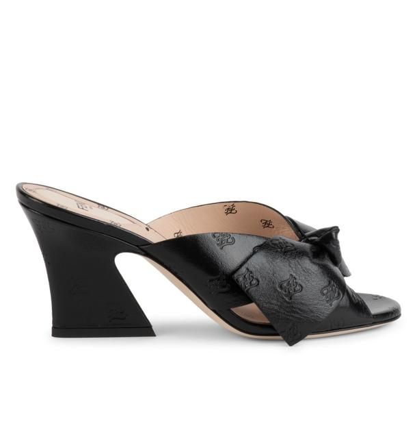 Item - Black Karligraphy Bow Embossed-leather Mules Pumps Size EU 39 (Approx. US 9) Regular (M, B)