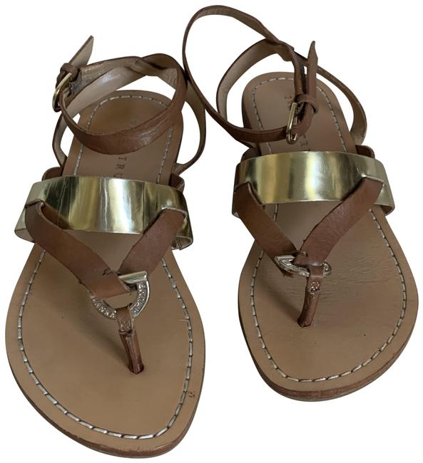 Item - Brown W Brown/Gold W/Buckle At Ankle Sandals Size US 6.5 Regular (M, B)