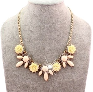 Beautiful Floral Crystal Statement Necklace