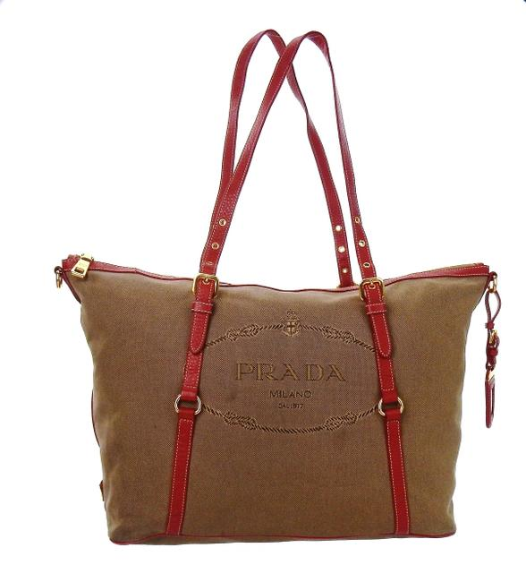 Item - Shoulder Never Full Zip Top Brown and Red Canvas Leather Tote