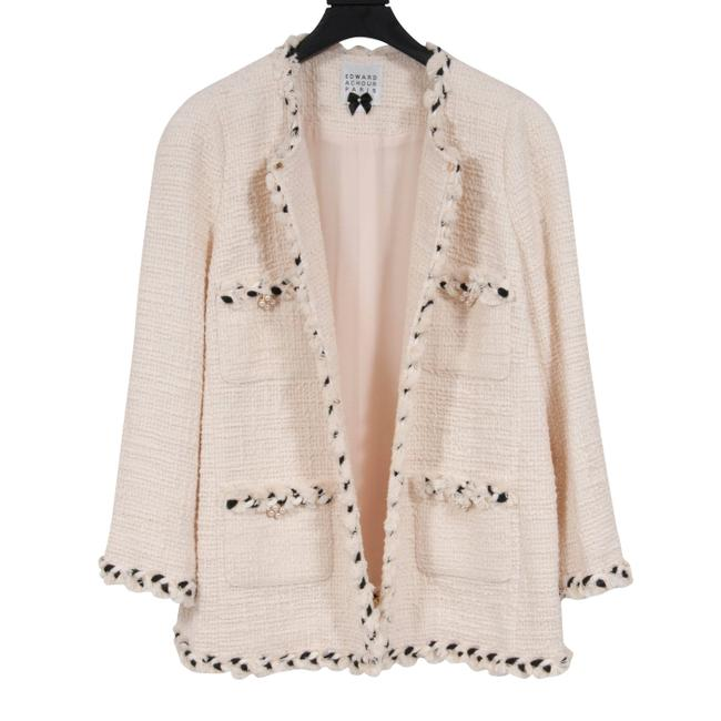 Item - Cream Embroiderd Fitted Tweed Jacket Size 14 (L)