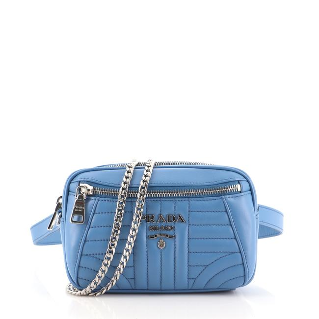 Item - Belt Convertible Diagramme Quilted Small Blue Leather Shoulder Bag
