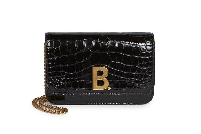 Item - Croc-embossed Leather Wallet-on-chain Black Cross Body Bag