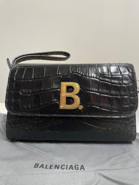 Balenciaga Croc-embossed Leather Wallet-on-chain Black Cross Body Bag Balenciaga Croc-embossed Leather Wallet-on-chain Black Cross Body Bag Image 2