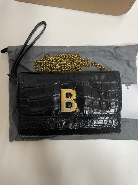 Balenciaga Croc-embossed Leather Wallet-on-chain Black Cross Body Bag Balenciaga Croc-embossed Leather Wallet-on-chain Black Cross Body Bag Image 3