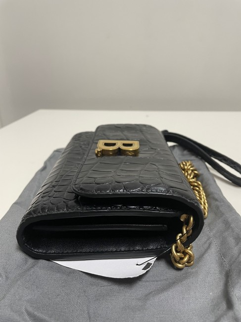 Balenciaga Croc-embossed Leather Wallet-on-chain Black Cross Body Bag Balenciaga Croc-embossed Leather Wallet-on-chain Black Cross Body Bag Image 6