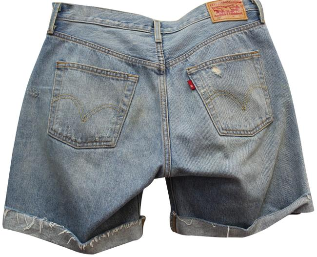 Item - Blue Denim 501 Distressed Classic Button Fly 28 Shorts Size 6 (S, 28)