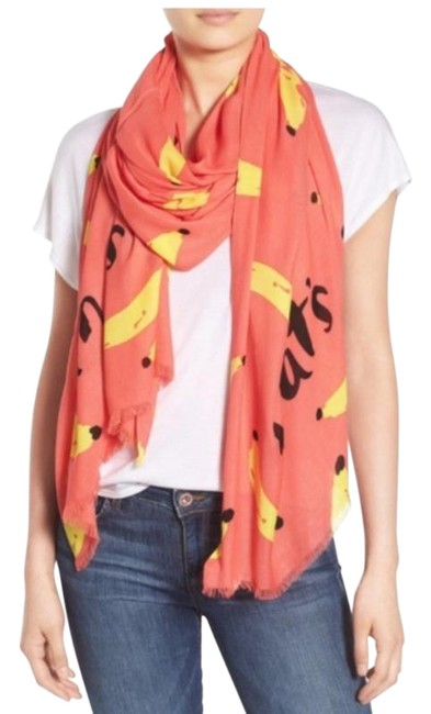 Item - Coral and Yellow Thats Bananas Oblong Scarf/Wrap