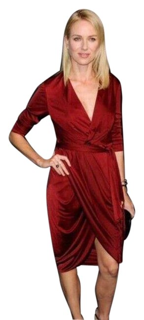 Item - Red Womens Long Sleeve Deep V-neck Faux Wrap Short Cocktail Dress Size 6 (S)