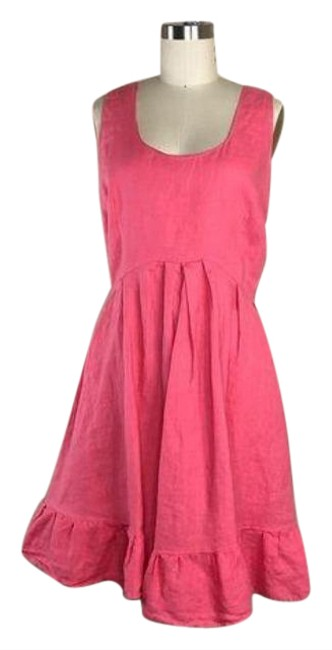 Item - Pink Linen Pleated Scoop Shift Short Casual Dress Size 10 (M)