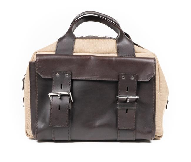 Item - Vintage Brown and Khaki Calf Leather with Canvas Fabric Laptop Bag