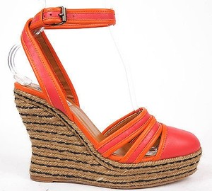 Lanvin Ankle Strap Espadrille Wedge Heels Red / Orange Platforms