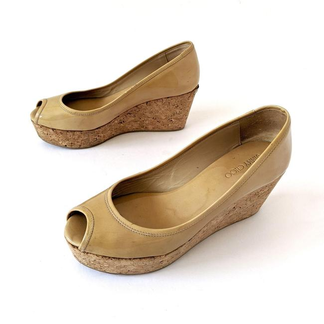 Item - Nude Parley Patent Leather Open Toe Cork Wedges Platforms Size EU 38 (Approx. US 8) Regular (M, B)