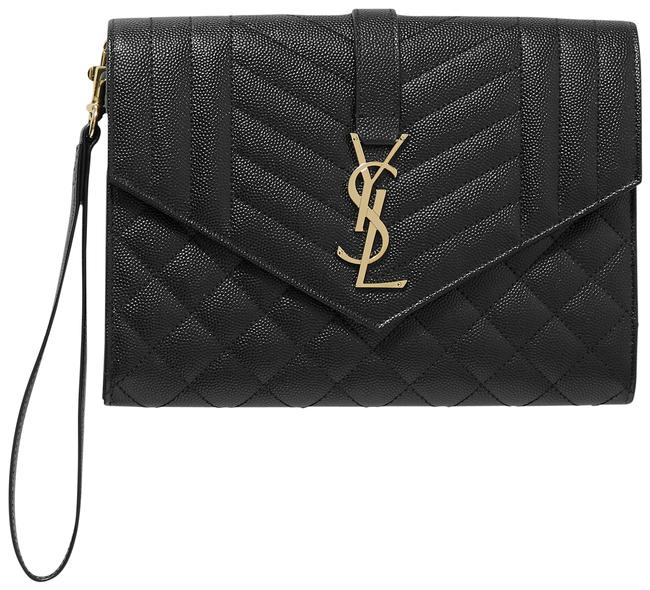 Item - Envelope Pouch Black Quilted Textured-leather Clutch