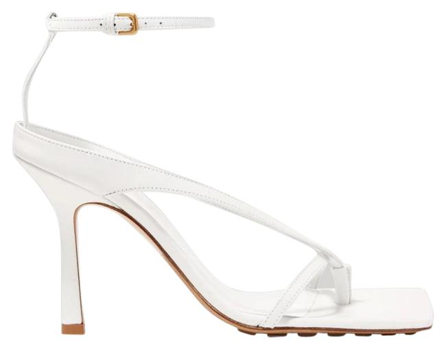 Item - White New Leather Heeled Ankle Strap Sandals Size EU 37.5 (Approx. US 7.5) Regular (M, B)