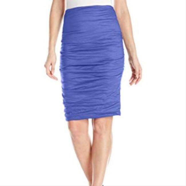 Item - Blue Purple Periwinkle Cotton Metal Ruched Sandy Skirt Size 6 (S, 28)