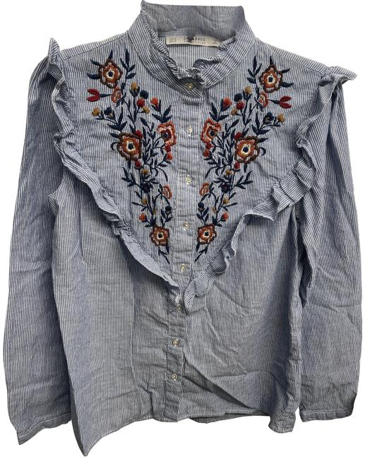 Item - Blue Striped Embroidered Shirt Button-down Top Size 8 (M)