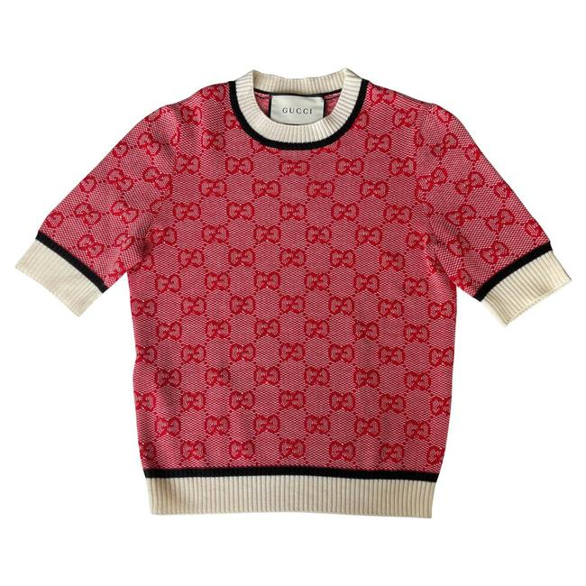 Item - XS Gg-jacquard Short-sleeved Wool Blend Red Sweater