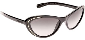 Chanel NIB Chanel Black And Gold Cat Eye Sunglasses