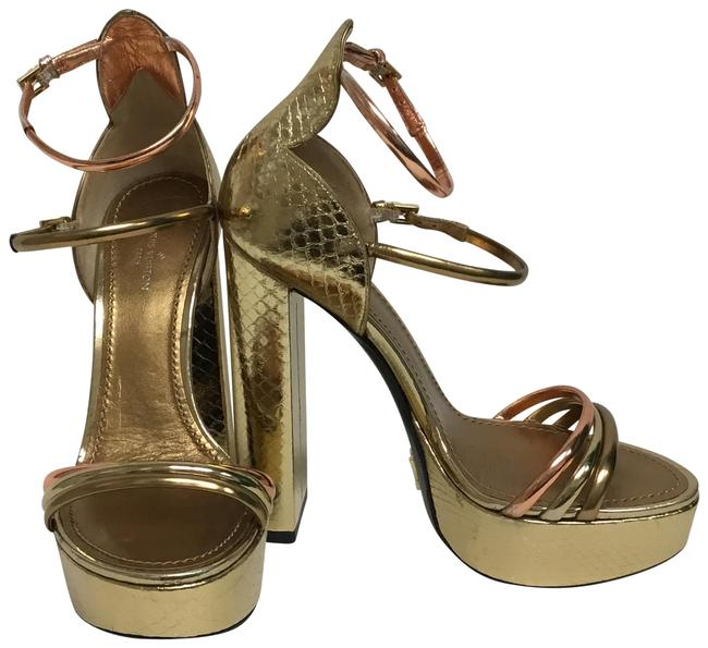 Item - Gold Snakeskin Sandals with Two Ankle Straps Platforms Size EU 36 (Approx. US 6) Regular (M, B)