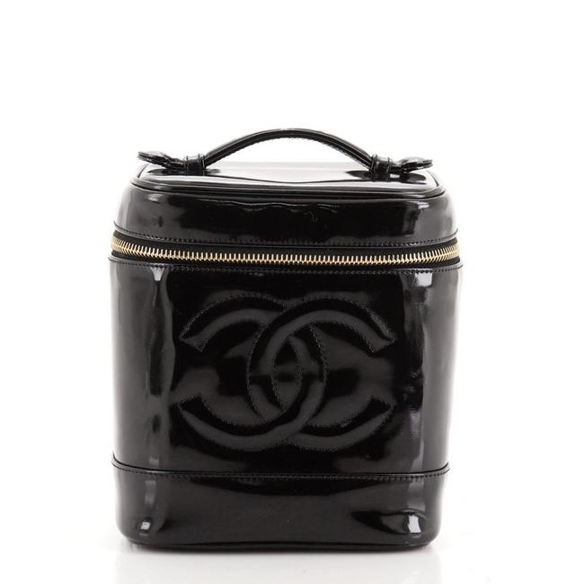 Item - Black Vintage Timeless Patent Tall Cosmetic Bag