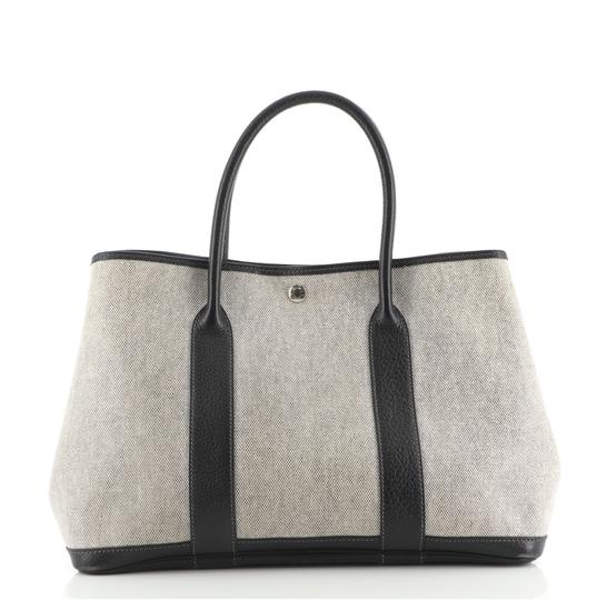 HermèsGarden Party And Leather 36 Black Neutral Canvas (Plain) Tote