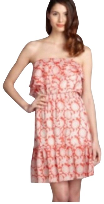 Item - Red Ruffled Silk Printed Strapless Cocktail Dress Size 4 (S)