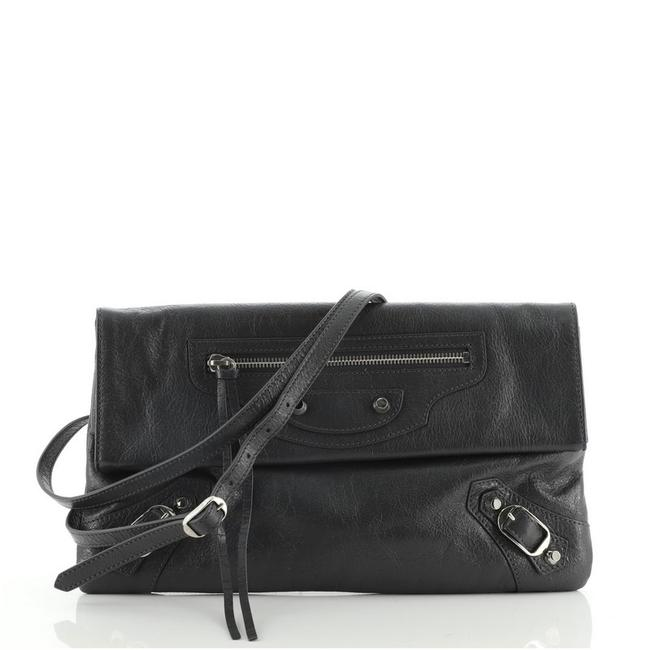 Item - Classic Studs Envelope Gray Leather Clutch