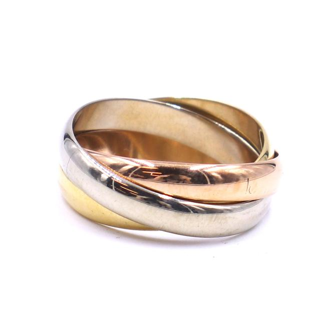 Item - #42151 Tricolor 18k Trinity White Gold Yellow Rose Pink Gold Size 52 6.5 Ring
