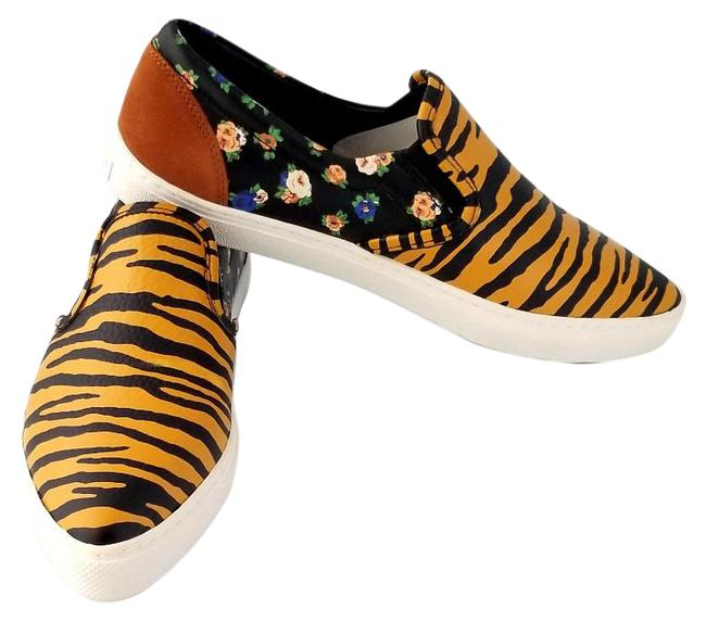 Item - Multicolor Q8178 Tiger and Floral Print Skate Style Sneakers Size US 9.5 Regular (M, B)