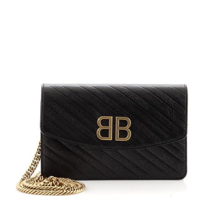 Item - Black Bb Chain Embossed Leather Wallet