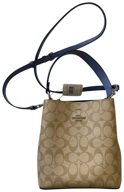 Item - Bucket Small Town Khaki / Periwinkle Signature Canvas and Smooth Leather Hobo Bag