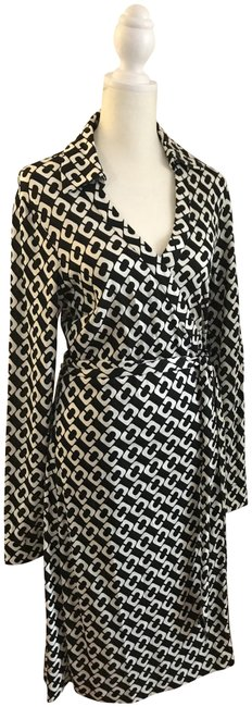 Item - Black and Cream Silk Mid-length Cocktail Dress Size 12 (L)