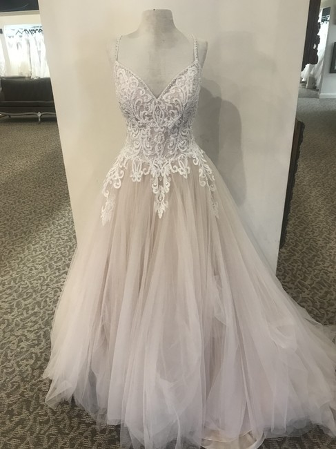 Item - Champagne/Ivory Tulle 9667 Formal Wedding Dress Size 16 (XL, Plus 0x)