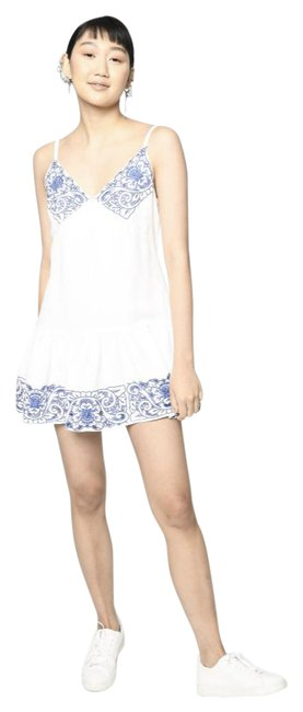 Item - White Blue W Linen W/ Embroidery Msrp Small Short Casual Dress Size 4 (S)