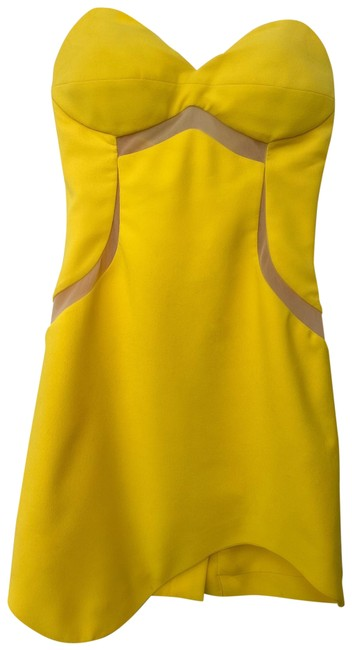 Item - Yellow Silk Crepe Bodycon Sweetheart Top Short Night Out Dress Size 2 (XS)