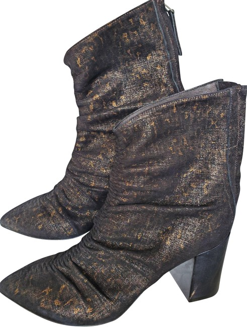 Item - Black Brown Rushed Sparking Boots/Booties Size EU 37 (Approx. US 7) Regular (M, B)