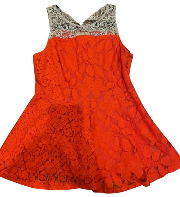 Item - Red and Silver Lace Peplum Top