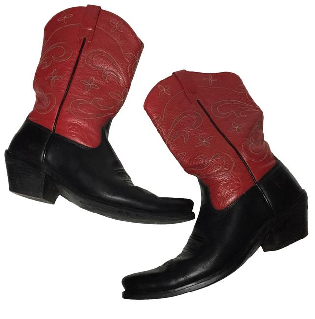 Item - Red Black Leather Heeled Cowboy Boots/Booties Size US 7 Regular (M, B)