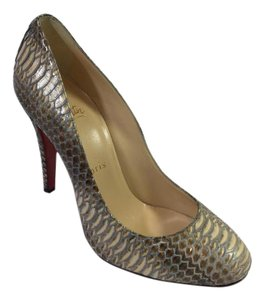 Christian Louboutin Ron Rocaille Watersnake Heels Gold Pumps