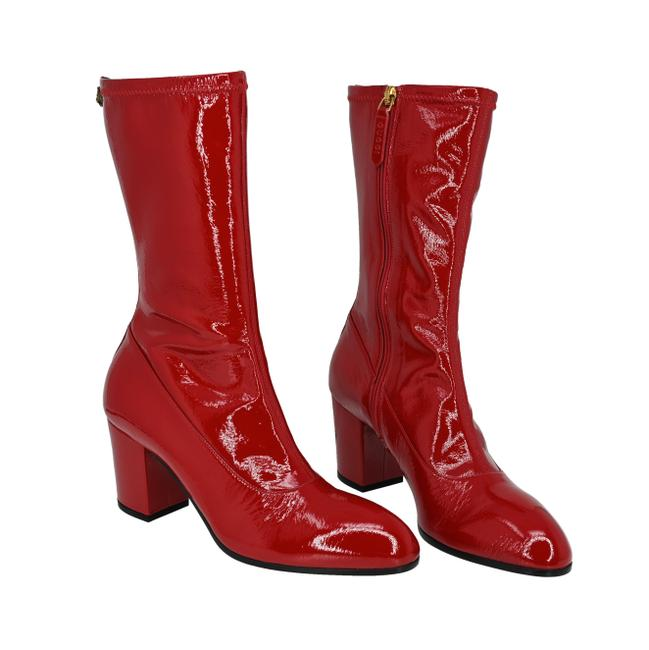 Item - Red Printyl Patent Leather Zip Boots/Booties Size EU 39 (Approx. US 9) Regular (M, B)