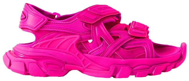 Item - Fuchsia Track Logo-detailed Leather and Rubber Sandals Size EU 39 (Approx. US 9) Regular (M, B)