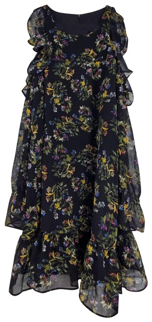 Item - Black Floral Cold Off Shoulder Sheer Sleeve Ruffle Mini Short Casual Dress Size 6 (S)