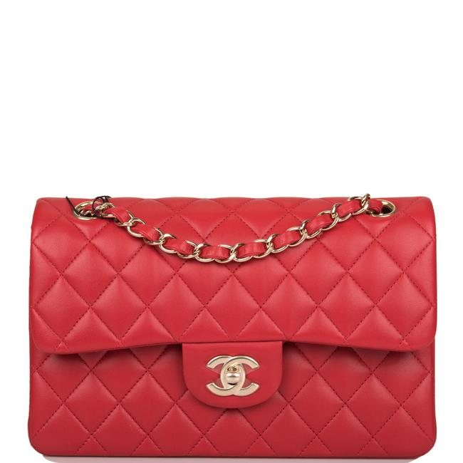 Item - Classic Flap Quilted Small Classic Double Light Gold Hardware Red Lambskin Leather Shoulder Bag