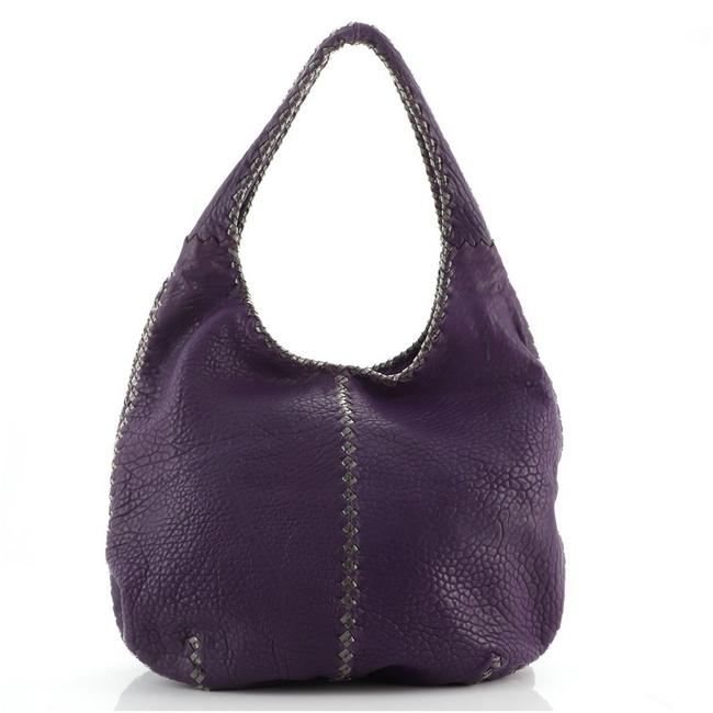 Item - Double Compartment Cervo with Large Purple Leather Pvc Hobo Bag