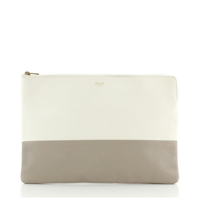 Item - Bicolor Solo Pouch Gray Neutral Leather Clutch