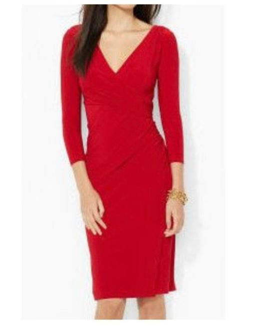 Item - Red Faux Wrap Mid-length Work/Office Dress Size 8 (M)