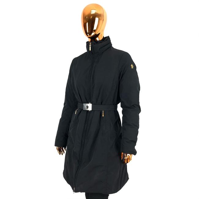 Item - Black W Womens Polyester Belted Puffer / Down Jacket Logo Coat Size 14 (L)