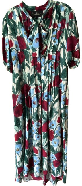 Item - Blue Red Floral Msrp Long Casual Maxi Dress Size 4 (S)